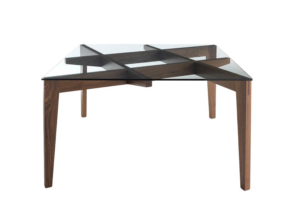 Horm table autoreggente 140x140 cm noyer fonc bois et for Table 140x140 design