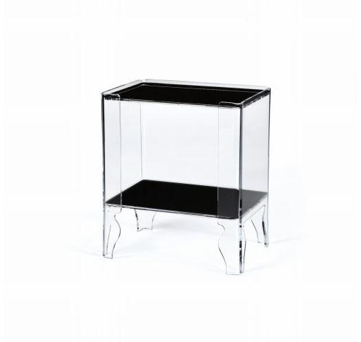 Emporium Table De Chevet Naif 1 Transparent Avec Etageres Noires