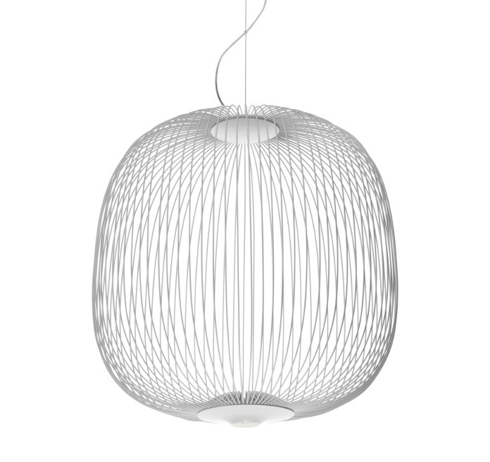 foscarini lampe de suspension spokes 2 led variateur blanc acier et aluminium vernis. Black Bedroom Furniture Sets. Home Design Ideas