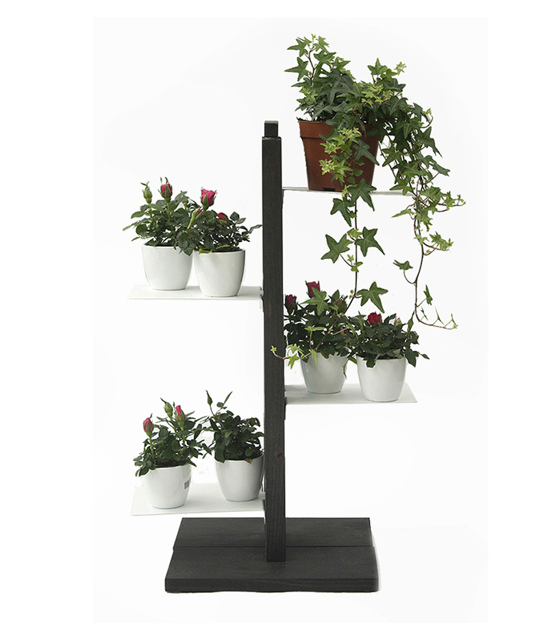 le zie di milano porte plantes zia flora h 66 cm noir h tre massif et acier. Black Bedroom Furniture Sets. Home Design Ideas