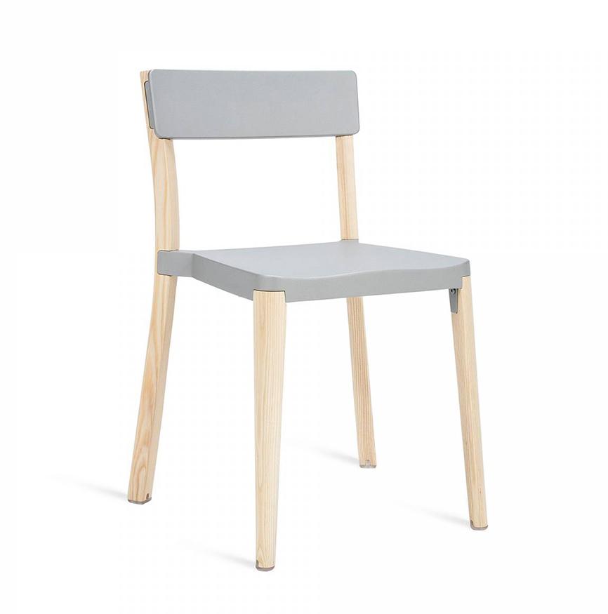 emeco lancaster stacking chair chaise sans accoudoirs assise et dossier gris clair aluminium. Black Bedroom Furniture Sets. Home Design Ideas