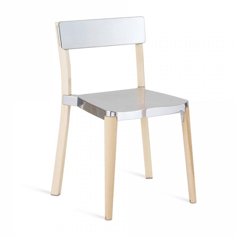 emeco lancaster stacking chair chaise sans accoudoirs assise et dossier brillant aluminium. Black Bedroom Furniture Sets. Home Design Ideas