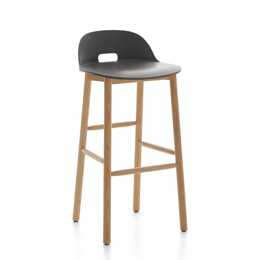 emeco alfi barstool low back tabouret avec le dossier bas gris fonc et fr ne clair. Black Bedroom Furniture Sets. Home Design Ideas