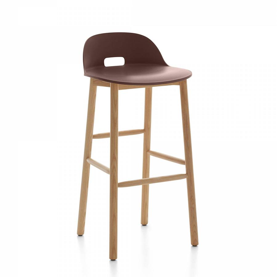 emeco alfi barstool low back tabouret avec le dossier bas marron fonc et fr ne clair. Black Bedroom Furniture Sets. Home Design Ideas