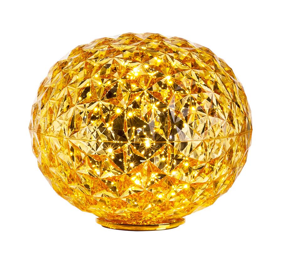 kartell lampe de table planet led h 28 cm jaune technopolym re thermoplastique color dans. Black Bedroom Furniture Sets. Home Design Ideas