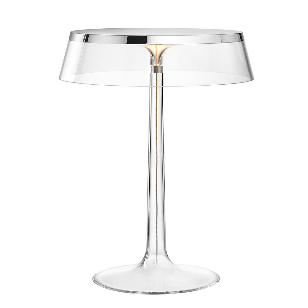 Flos Lampe De Table Bon Jour Chrome Avec Couronne Tranparente
