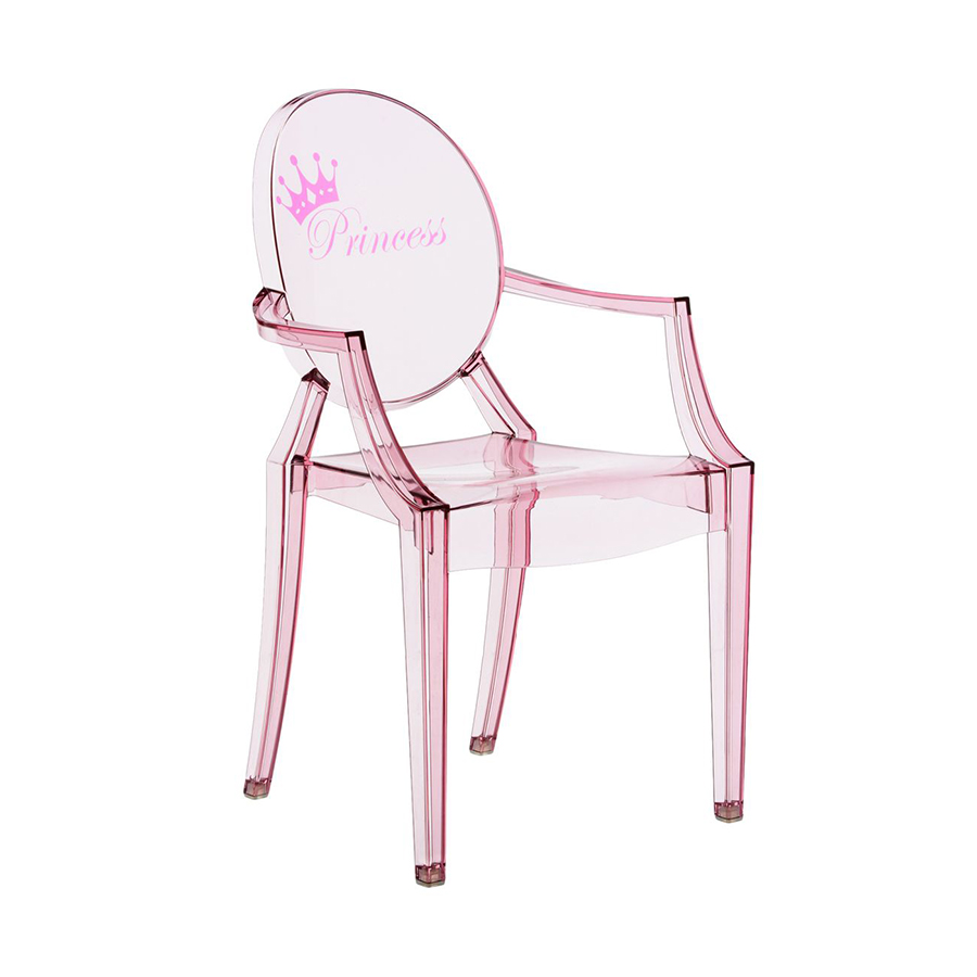 kartell kids chaise pour enfants lou lou ghost rose princesse polycarbonate transparent. Black Bedroom Furniture Sets. Home Design Ideas