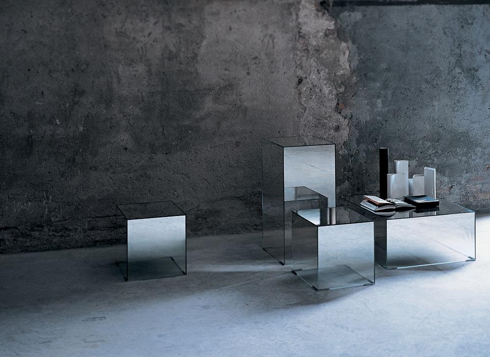 glas italia table basse illusion 70 x 70 x h 33 cm cristal extralight miroir. Black Bedroom Furniture Sets. Home Design Ideas