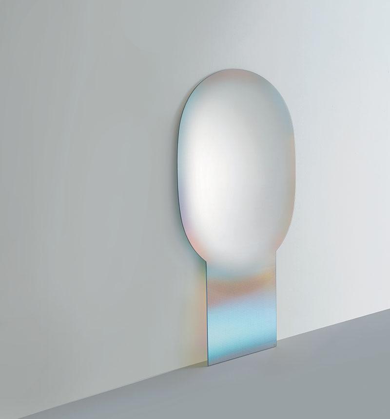 glas italia miroir de terre pos au sol shimmer 100 x 180 cm cristal extralight. Black Bedroom Furniture Sets. Home Design Ideas