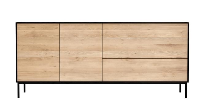 ethnicraft meuble buffet blackbird avec 2 portes et 3 tiroirs