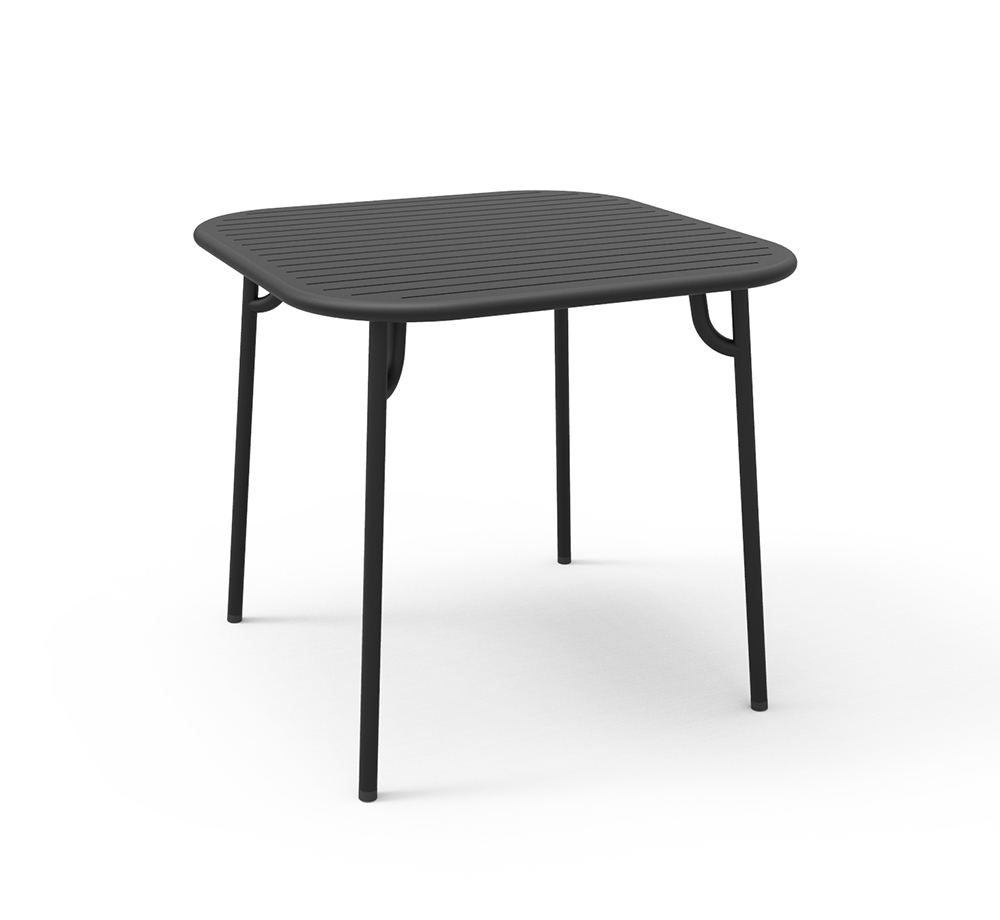 petite friture table carr e pour l 39 ext rieur week end noir aluminium verni par poudre epoxy. Black Bedroom Furniture Sets. Home Design Ideas