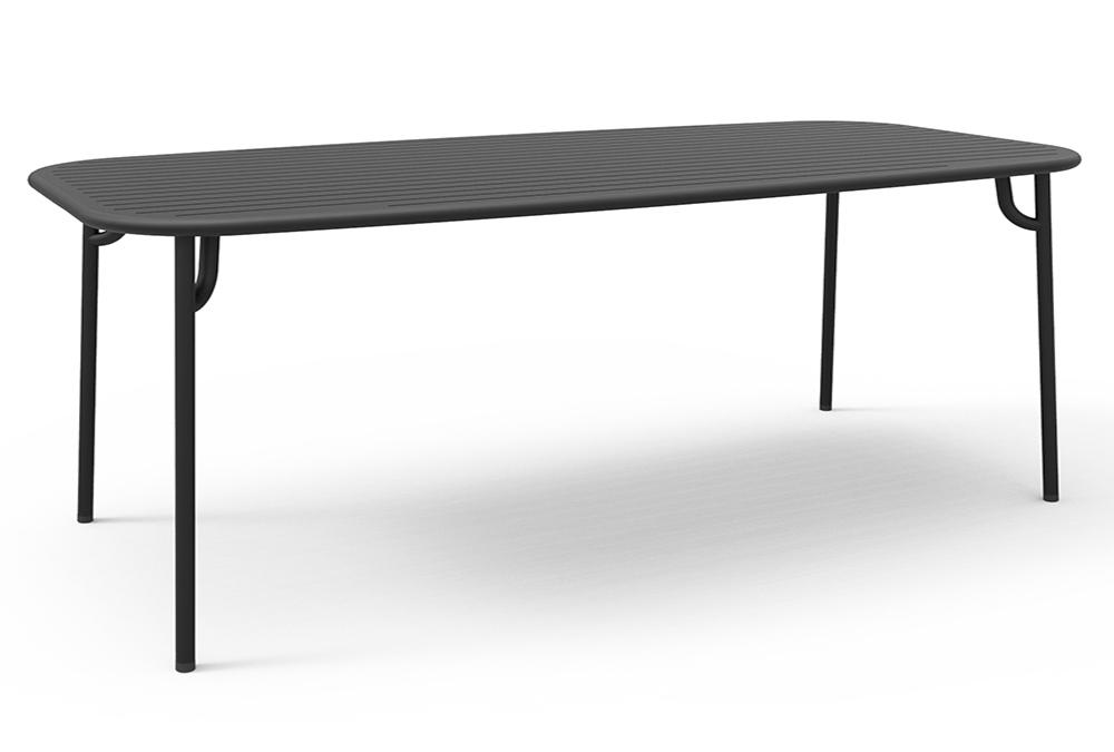 petite friture table rectangulaire pour l 39 ext rieur week end 220x85 cm noir aluminium verni. Black Bedroom Furniture Sets. Home Design Ideas