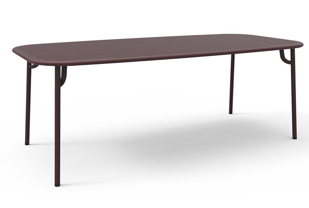 petite friture table rectangulaire pour l 39 ext rieur week end 220x85 cm bordeaux aluminium. Black Bedroom Furniture Sets. Home Design Ideas