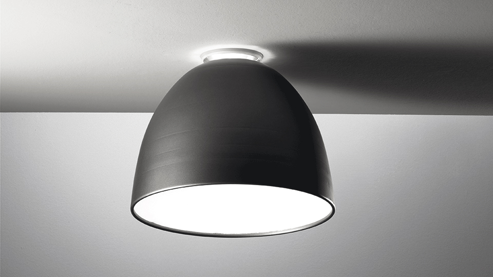 artemide lampe de plafond nur mini led led int gr gris anthracite aluminium polycarbonate. Black Bedroom Furniture Sets. Home Design Ideas