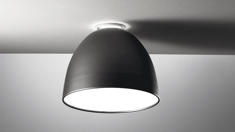 Artemide Lampe De Plafond Nur Mini Led Led Integre Gris Anthracite