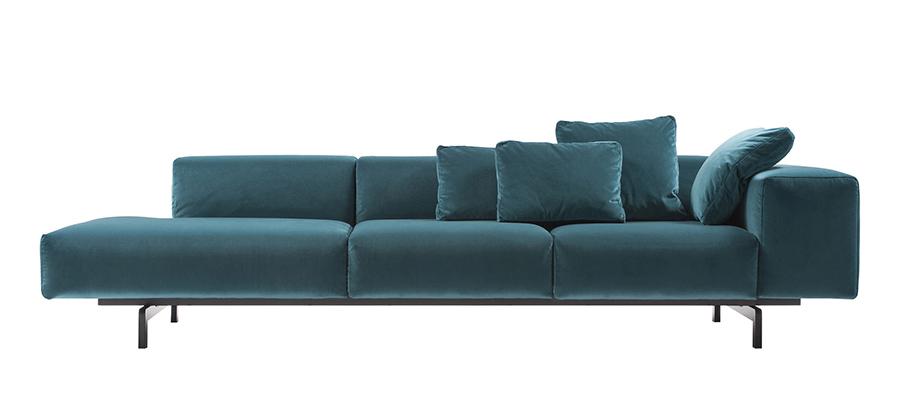 kartell canap gauche 3 places largo velluto ottanio velours et acier verni. Black Bedroom Furniture Sets. Home Design Ideas