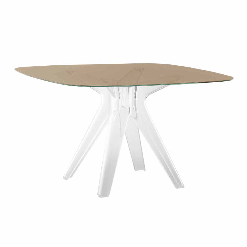 Kartell table sir gio avec plat carr bronze base en for Table exterieur kartell