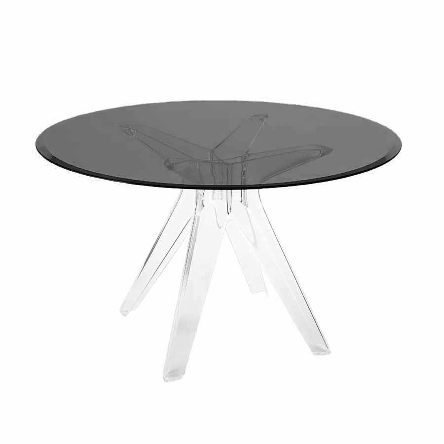 Kartell Table Sir Gio With Round Top Smoke Grey Technopolymer