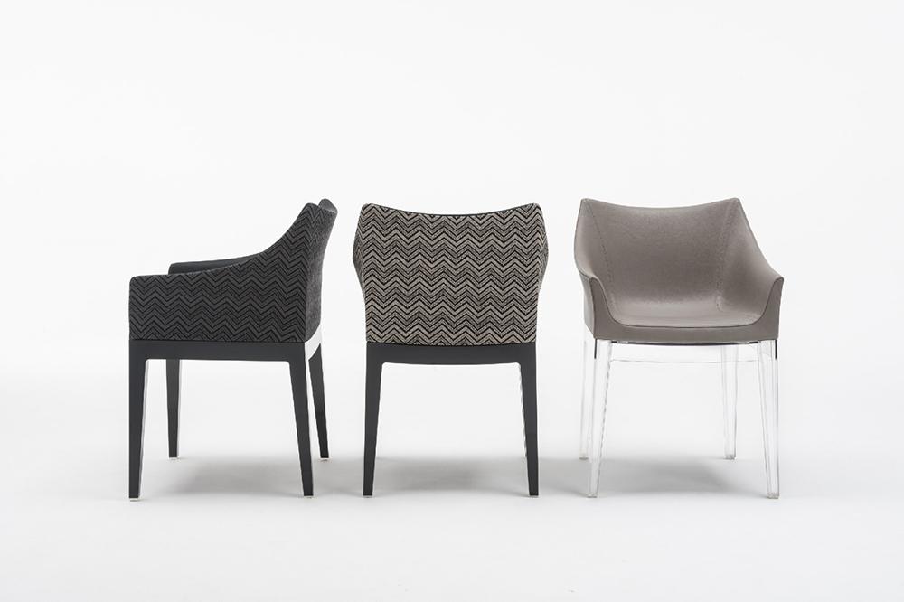 KARTELL fauteuil MADAME (transparent tourterelle polycarbonate transparent et simili cuir)