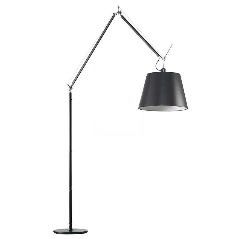 ARTEMIDE floor lamp TOLOMEO MEGA LED Ø 42 cm (Fabric shade and black structure aluminium, steel with dimmer on the thread)