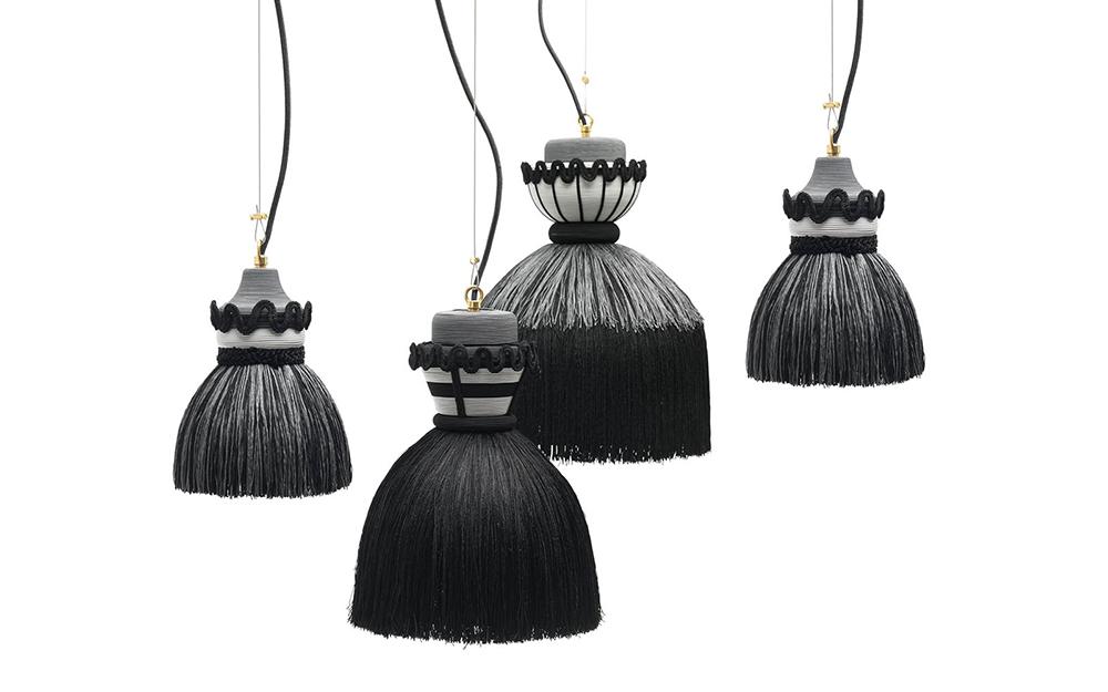MOGG lampe à suspension MADAMA (Ø 30xh43 cm, noir Métal et tissu)