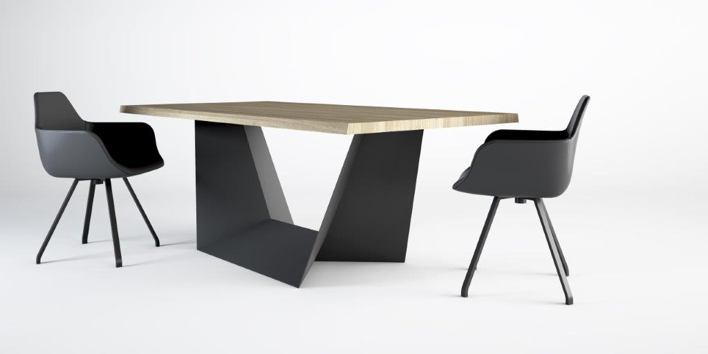 alma design table clint 140 x 140 cm base in acciaio. Black Bedroom Furniture Sets. Home Design Ideas