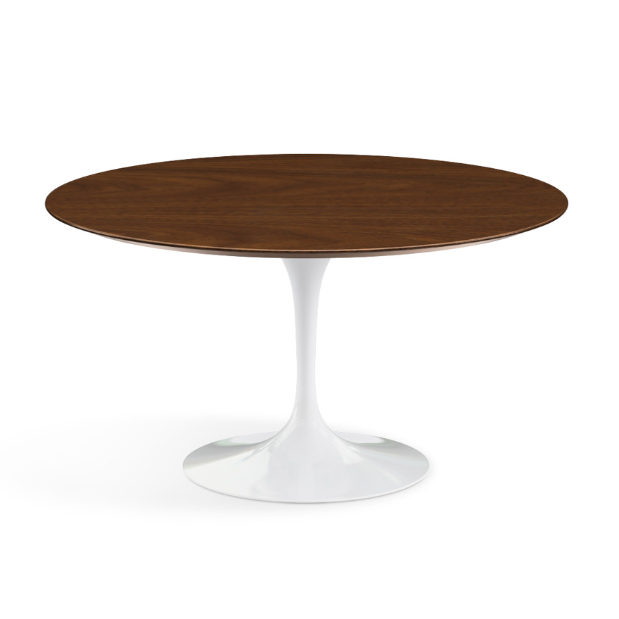 knoll table ronde tulip 137 cm collection eero saarinen base blanche plateau en noyer. Black Bedroom Furniture Sets. Home Design Ideas