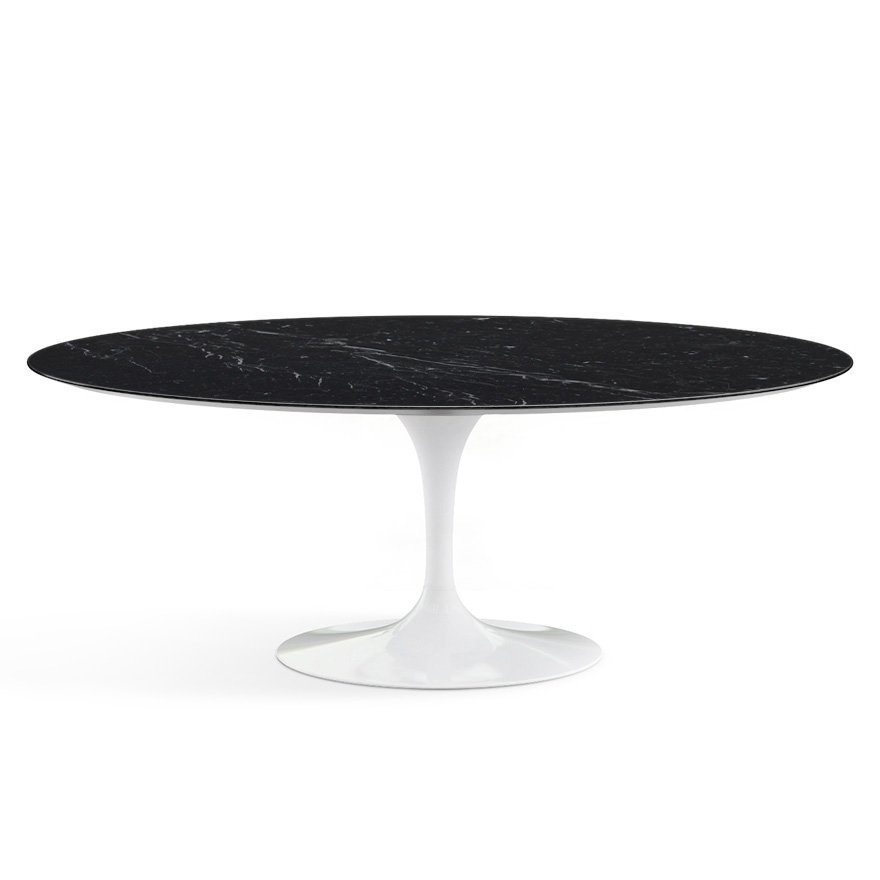 Tavolo Tulip Knoll.Knoll Oval Table Tulip Eero Saarinen S Collection 198x121cm White Base Black Marquina Top Marble And Aluminum