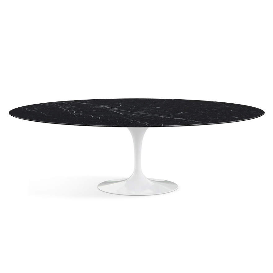 knoll table ovale tulip collection eero saarinen 244x137 cm base blanche plateau noir. Black Bedroom Furniture Sets. Home Design Ideas
