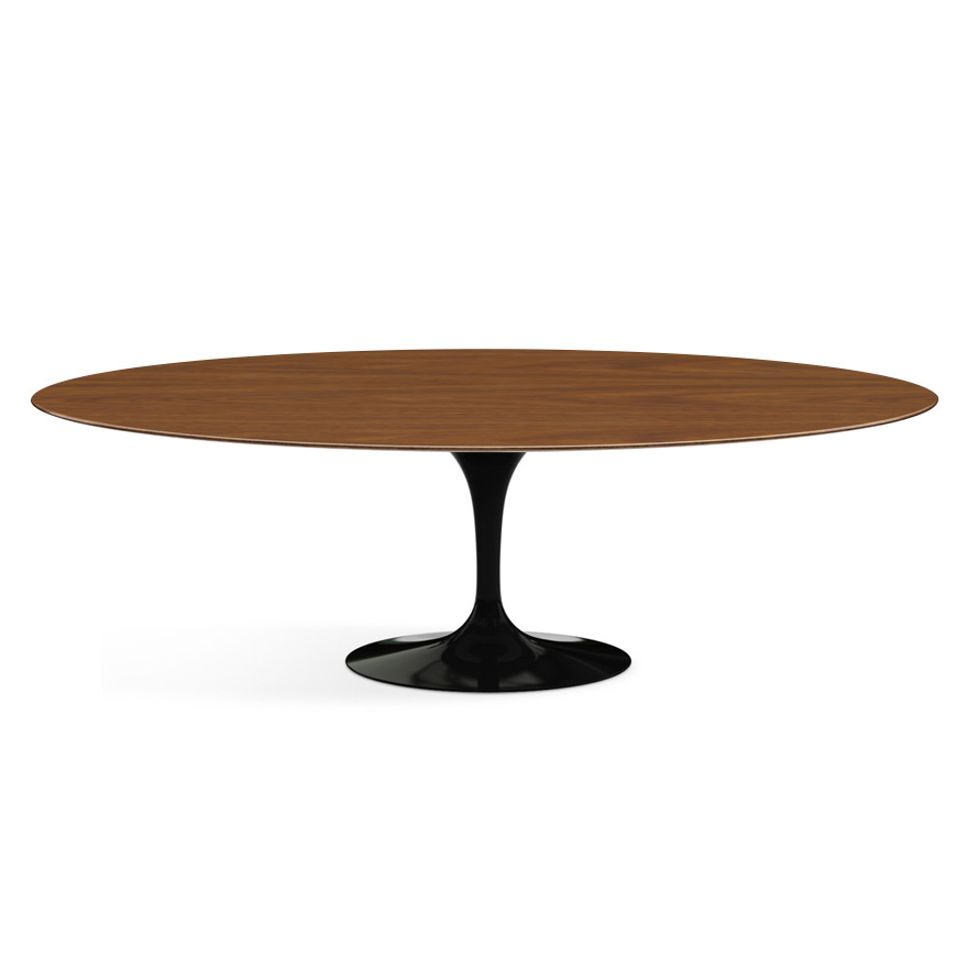 Knoll table ovale tulip collection eero saarinen 244x137 cm base noire plateau en noyer - Set de table ovale ...
