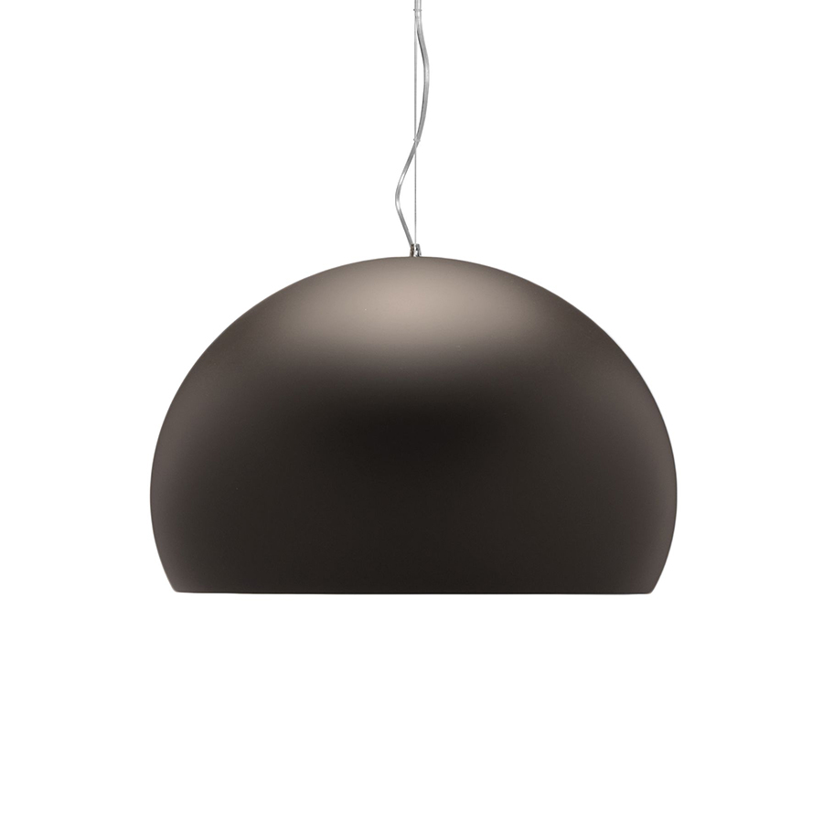 kartell lampe suspension fl y fly marron opaque int rieur gris scuro teint dans la masse. Black Bedroom Furniture Sets. Home Design Ideas