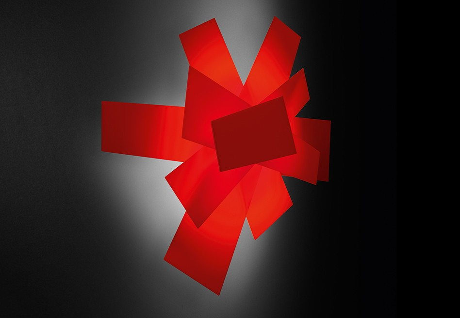 Foscarini Wall Or Ceiling Lamp Big Bang Red Methacrylate And