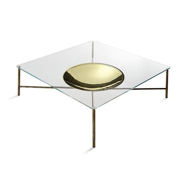 tout neuf a1a20 8a41f GALLOTTI&RADICE table basse GOLDEN MOON (100x100 cm - cristal transparent  extralight et laiton)