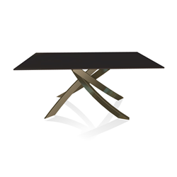 BONTEMPI CASA table with aged brass frame ARTISTICO 20.13 160x90 cm