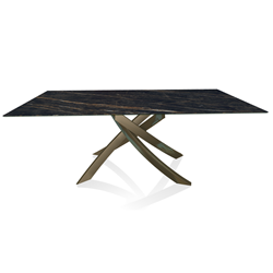 BONTEMPI CASA table with aged brass frame ARTISTICO 52.45 200x100 cm
