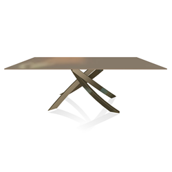 BONTEMPI CASA table with aged brass frame ARTISTICO 20.01 200x106 cm