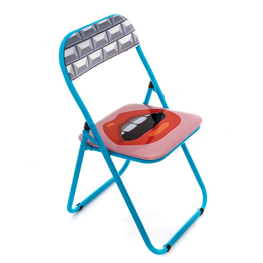 SELETTI chaise pliable FOLDING CHAIR STUDIO JOB BLOW NEW (Mouth Metal et PVC)