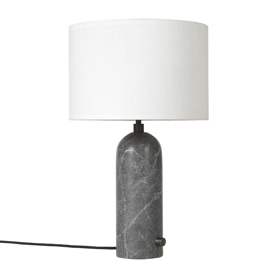 GUBI lampe de table GRAVITY SMALL (Gris - Marbre et Tissu blanc)