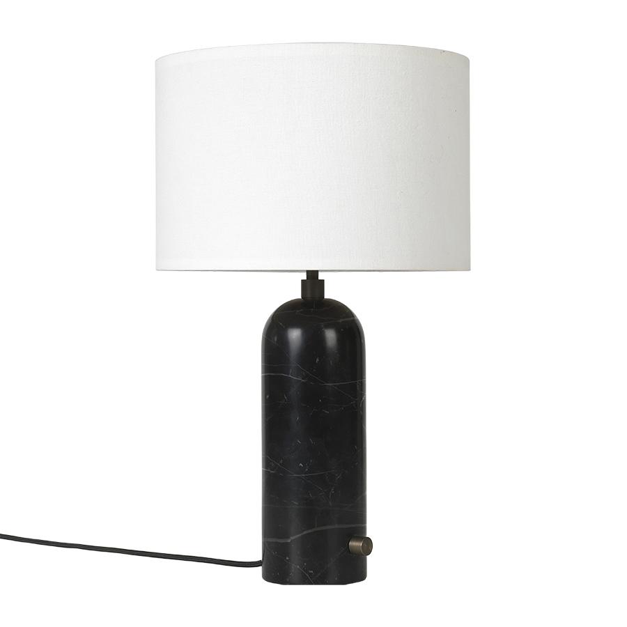 GUBI lampe de table GRAVITY SMALL (Noir - Marbre et Tissu blanc)