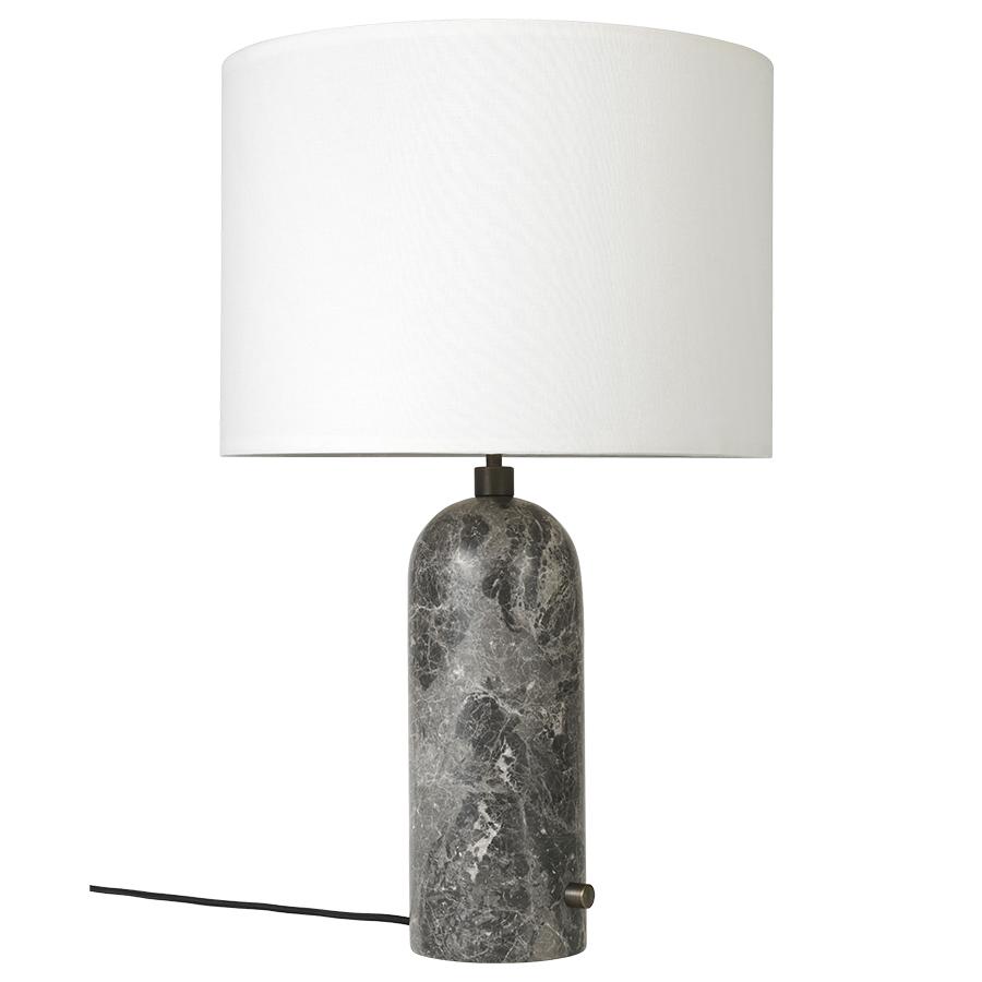 GUBI lampe de table GRAVITY LARGE (Gris - Marbre et Tissu blanc)