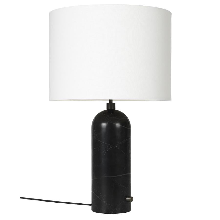GUBI lampe de table GRAVITY LARGE (Noir - Marbre et Tissu blanc)