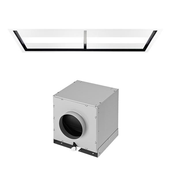 falmec hotte au plafond nuvola 140 cm blanc avec moteur sous combles da 1100 m3 h acier et. Black Bedroom Furniture Sets. Home Design Ideas
