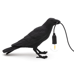 SELETTI lampe de table BIRD LAMP WAITING à LED BLACK EDITION
