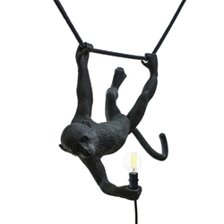SELETTI lampe à suspension MONKEY LAMP SWING BLACK à LED