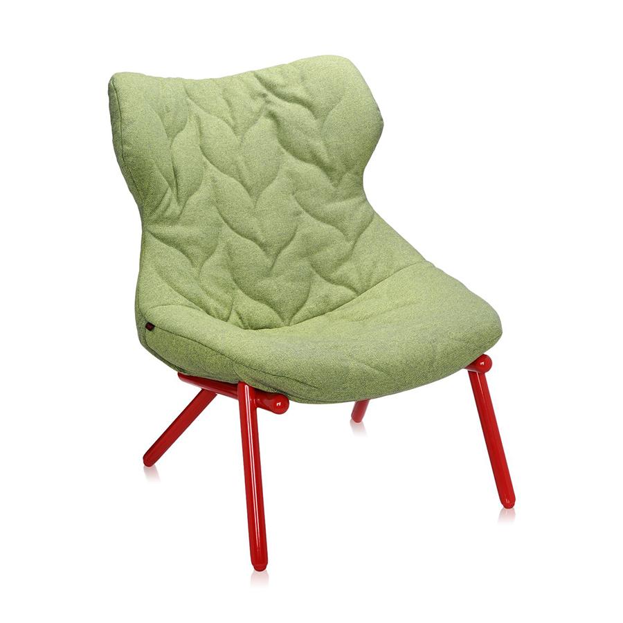 KARTELL fauteuil FOLIAGE (Revêtement vert pieds rouges siège en tissu Trevira Pieds en fer verni)