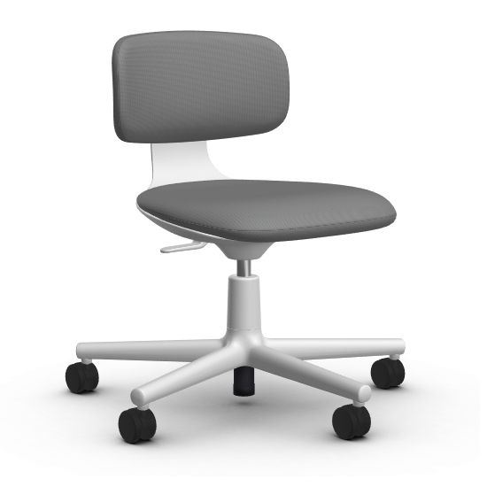 Chair With Wheels >> Vitra Office Chair With Wheels Rookie Tress Fabric Cat F80 And Base Soft Grey
