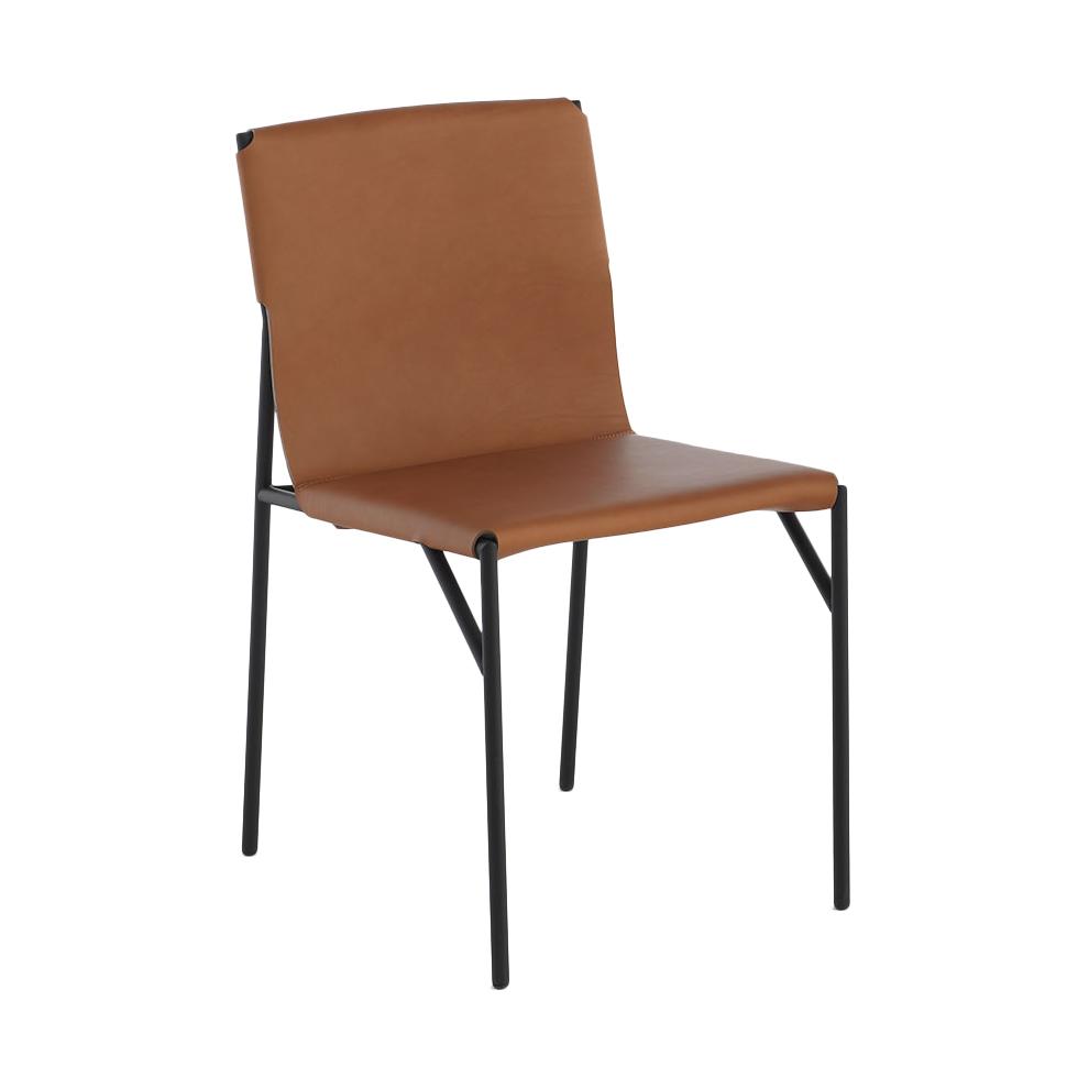 HORM chaise TOUT LE JOUR (Naturel - métal verni noir et cuir cuir pleine fleur)