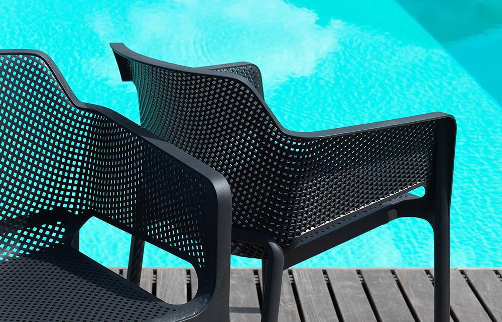 NARDI chaise avec accoudoirs pour extérieur NET (Gris tourterelle Polypropylène PRV)