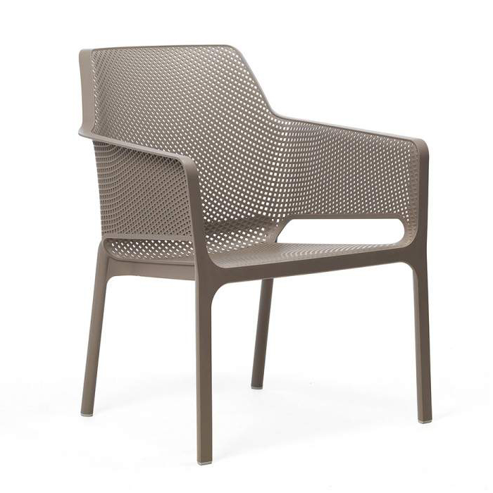 NARDI chaise avec accoudoirs pour extérieur NET RELAX (Gris tourterelle Polypropylène PRV)