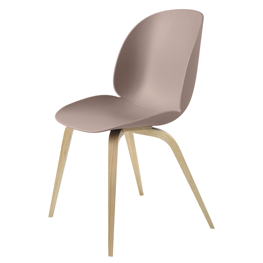 GUBI chair BEETLE DINING CHAIR with oak base (Sweet pink - polypropylene  and wood)